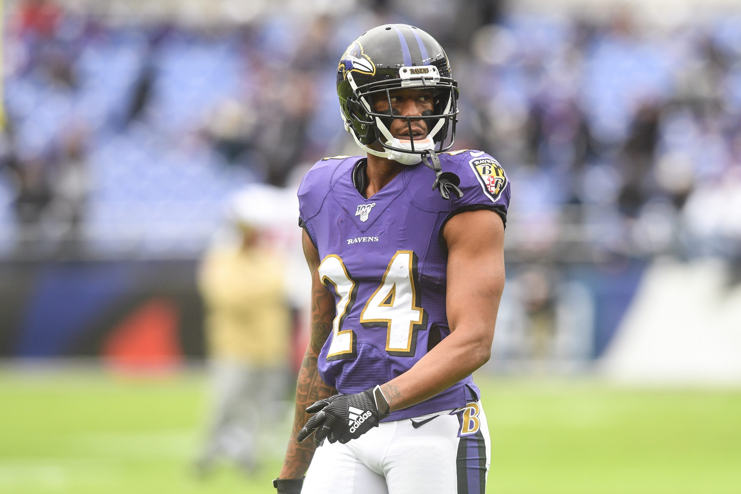 Baltimore, Maryland, US: Corner Back MARCUS PETERS (24) in action before the game held at M&T Bank St