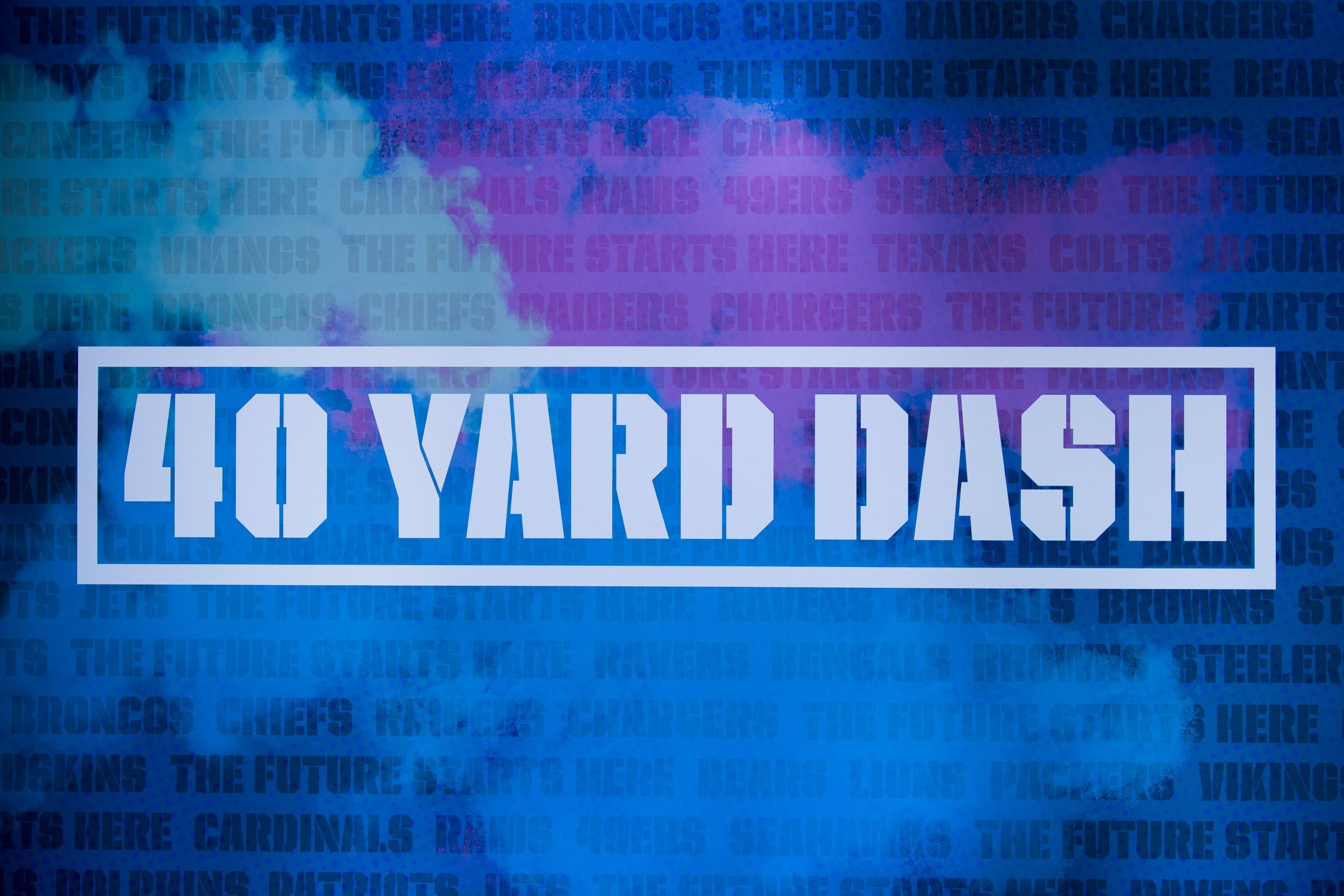 NFL Scouting Combine 2021 - A graphic displaying the 40 yard dash logo during the NFL, American Football Herren, USA