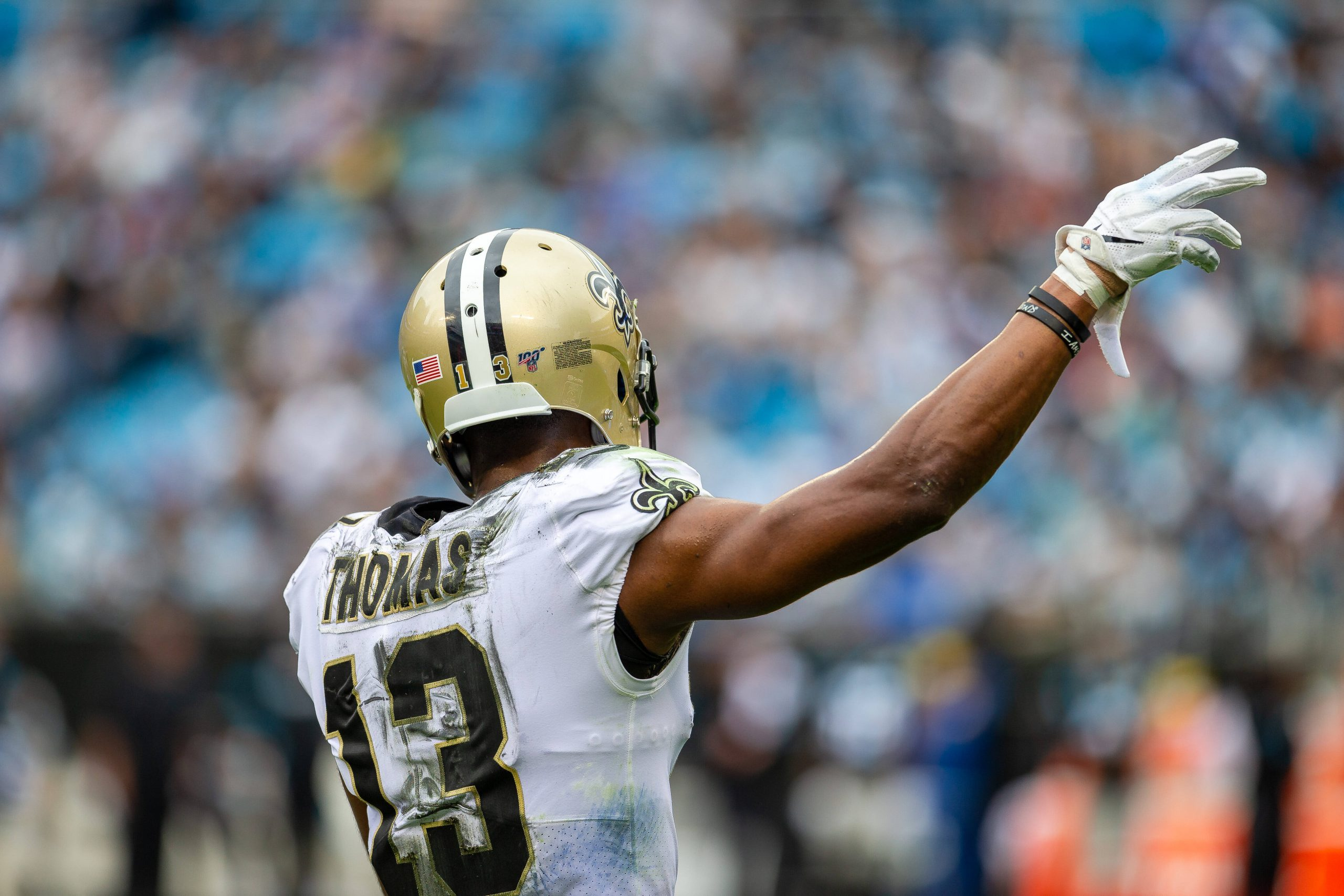 December 29, 2019: New Orleans Saints wide receiver Michael Thomas (13) signally first down after a review leads to a p
