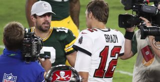 Green Bay Packers quarterback Aaron Rodgers (12), Tampa Bay Buccaneers QB Tom Brady