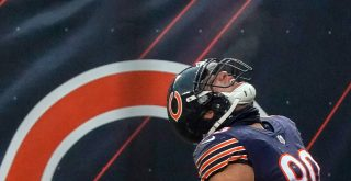 CHICAGO, IL - DECEMBER 06: Chicago Bears tight end Jimmy Graham (80) celebrates after a play in action during a game bet