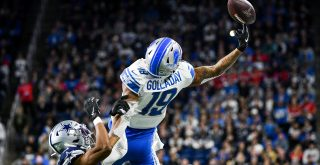 DETROIT, MI - NOVEMBER 17: Detroit Lions wide receiver Kenny Golladay (19) has this pass go just off of his finger tips