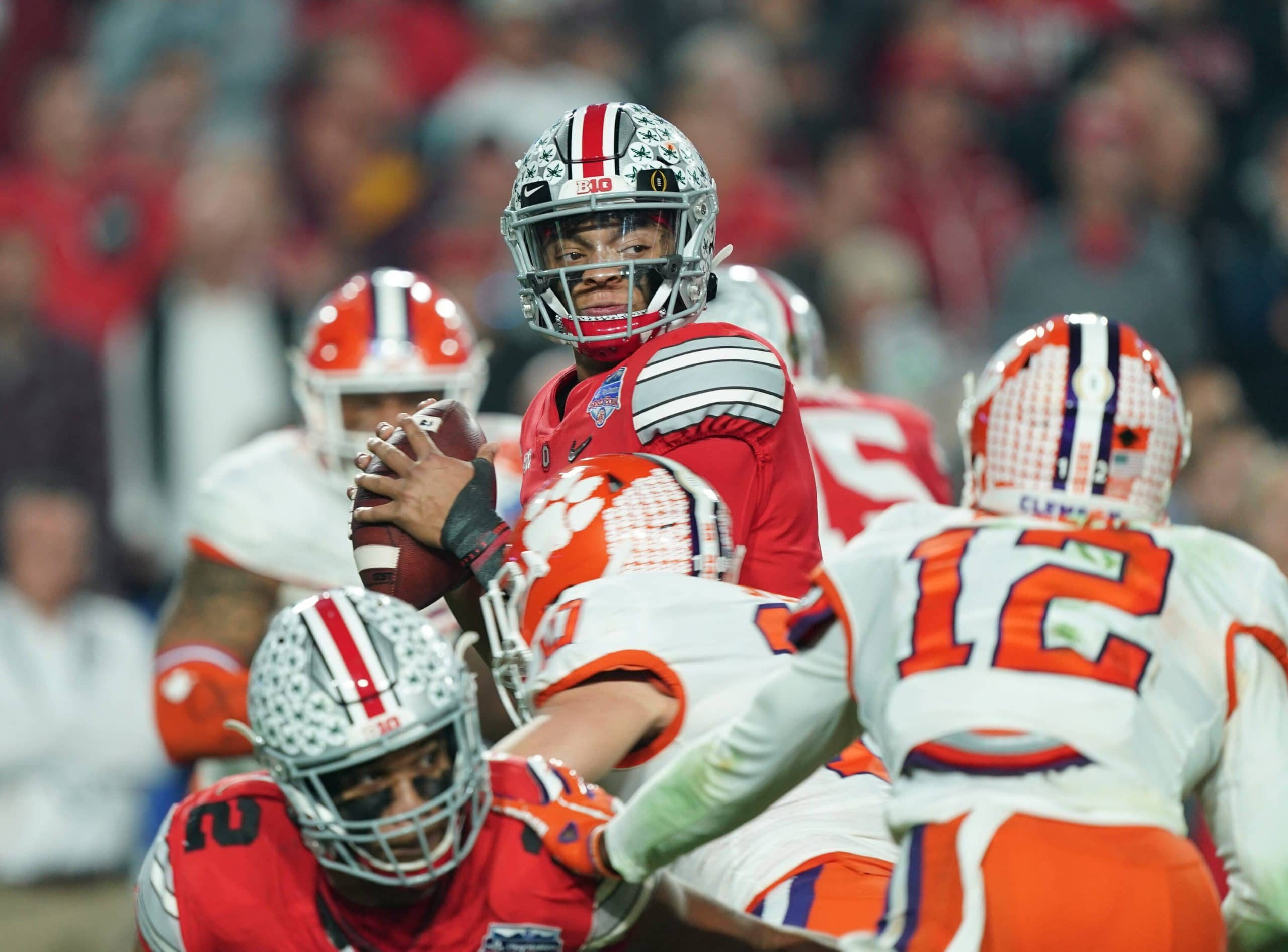 former Ohio State Buckeyes quarterback (1) Justin Fields is projected to go in the 1st Round of the NFL,