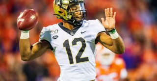Wake Forest Demon Deacons quarterback Jamie Newman (12) during the NCAA, College League, USA college